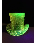 """Vaseline Glass Top Hat by Fenton 3 3/4"""" Cracked - $43.56"""