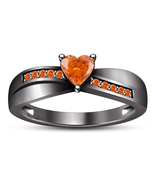 Black Gold Plated 925 Silver Heart Shape Orange Sapphire Wedding Engagem... - $85.77