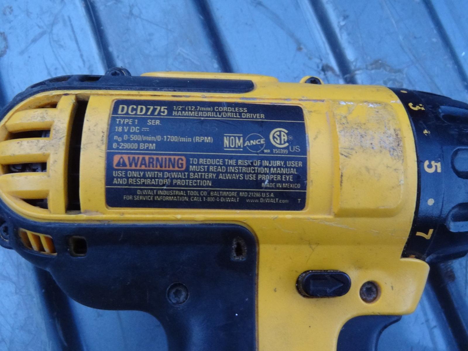 Dewalt DCD775 1//2 Cordless Hammer Drill Type 1 18V DC Housing