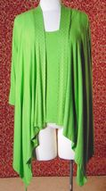 ETOILE green 2 piece stretch rayon tank blouse & sweater jacket M (T47-02I8G) image 12