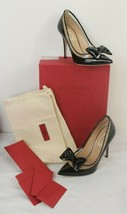 Valentino Dollybow Black Patent Leather Clear PVC Bow Pointed Pumps 37 $975 - $544.50