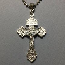 Pardon Crucifix Cross Jesus Catholic Religious Italian Pendant Medal Sil... - $14.99