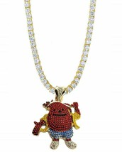 """Iced Out 14K Gold GP CZ Tennis Row Chain 30"""" Necklace w Kool-Aid Man Pen... - $32.71"""