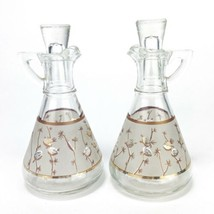 Vintage Hazel Atlas Frosted Glass Oil & Vinegar Cruet Gold Pine Cones Set - $38.35