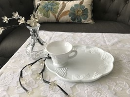25 Sets Available Indiana Colony Harvest Grape Snack Plate and Cup Milk Glass - $4.70