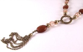 Beaded Necklace - brass coloured metal - plastic bead - $17.93