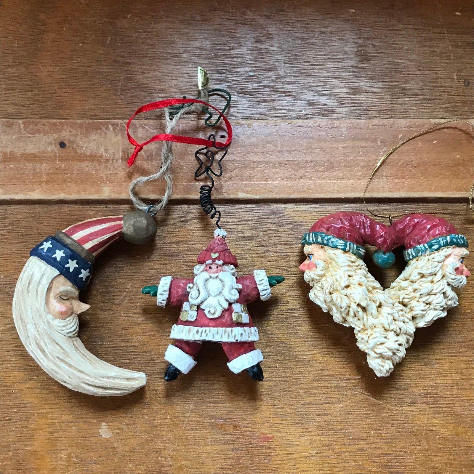Estate Lot of Carved Resin Patriotic Santa Claus Moon STAR & Heart Christmas
