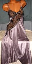 Long Nightgown Silver with Black Cross Dyed Lace Front Slit S - $24.00