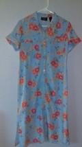 Crazy Horse Liz Claiborne Light Blue Button Down Floral Dress Size 10P P... - $7.70