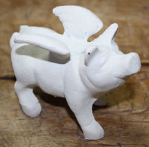 Cast Iron FLYING PIG Statue Wings Paper Weight Garden Rustic Door Stop F... - $6.00