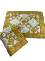 Pottery Barn Quilted Yellow Gold White Standard Shams Set of 2 Cotton Pair - $58.41