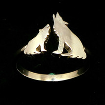 Silver Mother and Child Wolf Ring  - $35.00