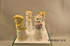 Vintage Lot of 4 AVAA Henco Feline Feelins Bisque Kitty Cat Thimble Figu... - $12.19