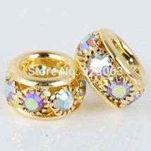 Charms 50pcs/lot White AB Rhinestone Gold Plated European Bracelets ,6x10mm Big  - $59.99