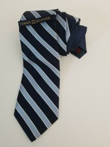 Tommy Hilfiger Neck Tie Blue Diagonal Striped 100% Silk Made In USA With... - $29.39