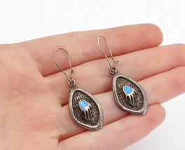 SOUTHWESTERN 925 Silver - Vintage Turquoise Bear Claw Dangle Earrings - ... - $32.74