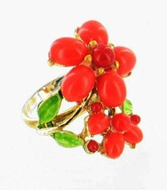 VINTAGE MOD FAUX CORAL FLOWER GEM ADJUSTABLE RING ~ FUN - $53.99