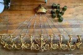 Vtg Dart 9 Candle Holder Gold Candelabra wall Sconce Syroco Hollywood Re... - $299.99