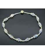 Clear Aurora Borealis Faceted Crystal Bead Bead Necklace Rhinestone Flow... - $29.69