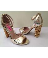NEW! Betsey Johnson BRANDY Metallic Gold Sequined Block Heel Sexy Sandal... - $47.40