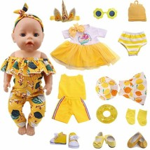 Doll Clothes Yellow Leisure Set Fit 18 Inch 43 CM Baby Accessories DIY Toys - $10.99+