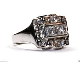 Vintage Polished Men`s Classy Crystals Designed Inlay Ring 925 Sterling Rg 1910 - $25.99