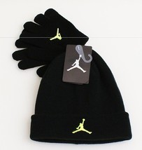 Nike Jordan Black & Volt Knit Cuff Beanie & Stretch Gloves Youth Boy's 4... - $29.69
