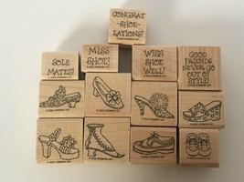 Stampin Up Steppin Style Shoes Fashion Puns Friendship 2002 Mounted Stamp Set 13 - $17.10