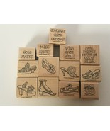 Stampin Up Steppin Style Shoes Fashion Puns Friendship 2002 Mounted Stamp Set 13 - $16.14