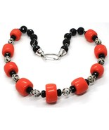 Necklace Silver 925, Onyx Black round, Discs of Coral, Alternating - $209.16