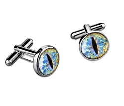 Ice Blue Dragon Eyeballs Silver & Glass Sci-fi Fantasy Cufflink Set w/ Box - $32.39