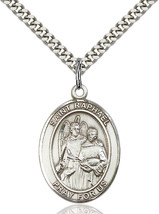 Sterling Silver St. Raphael the Archangel Pendant 1 x 3/4 24 inch Chain - $59.54