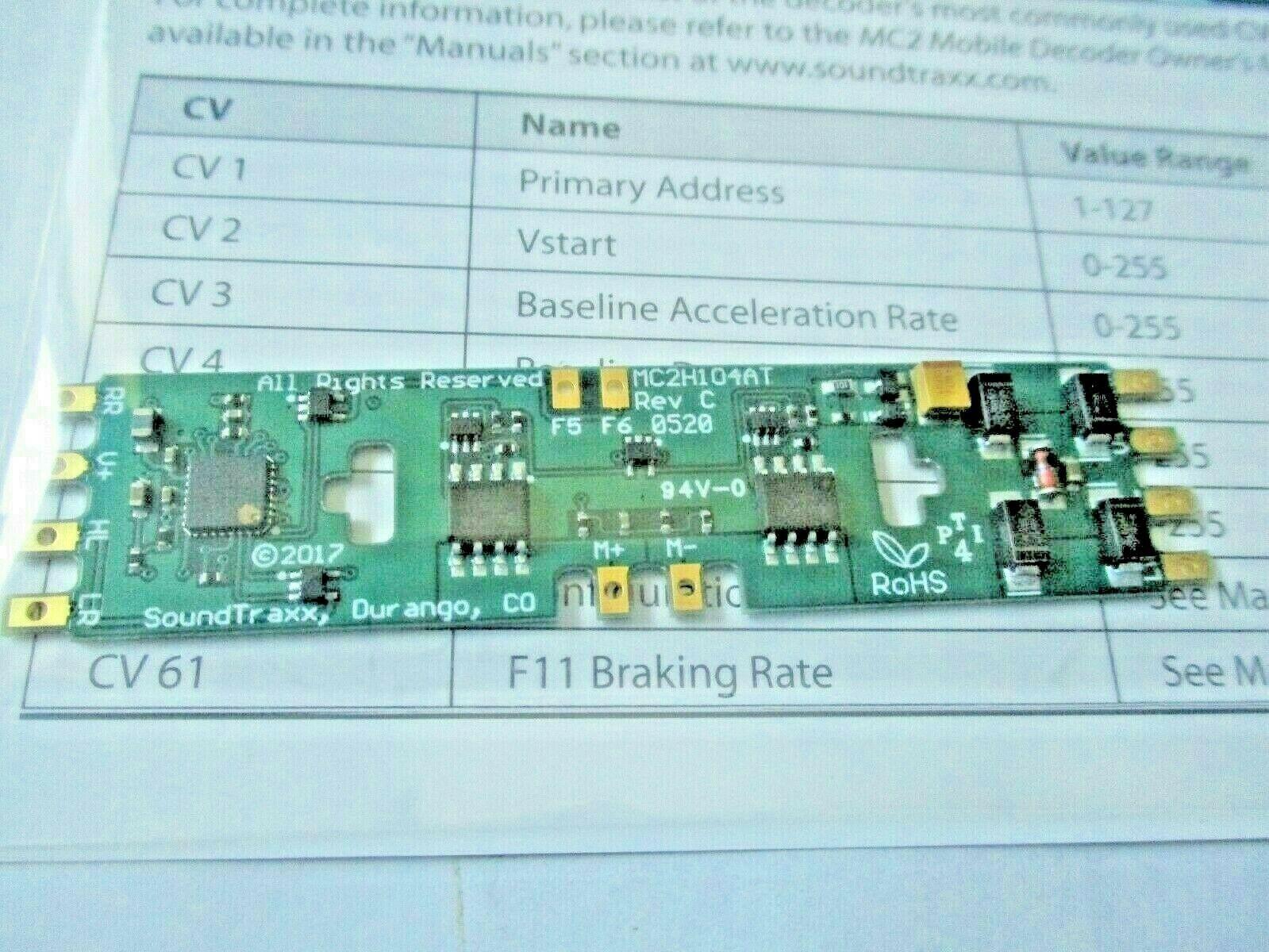 Soundtraxx 852002 MC2H104AT DCC Mobile Decoder 4 Function Atlas, Ath, Kato Style