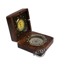 Christmas Desk Study Wooden Clock Table Analog Clock With Compass Classic Dec - $28.81