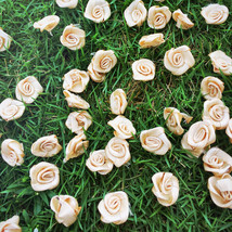 50 Gold Satin Rose Buds,Metallic Gold Roses,Craft Flowers,Sewing Supplie... - $7.50