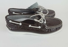 Sperry Top Sider Boat Shoes Brown Patent Leather Croc Embossed Womens 7M - $56.09
