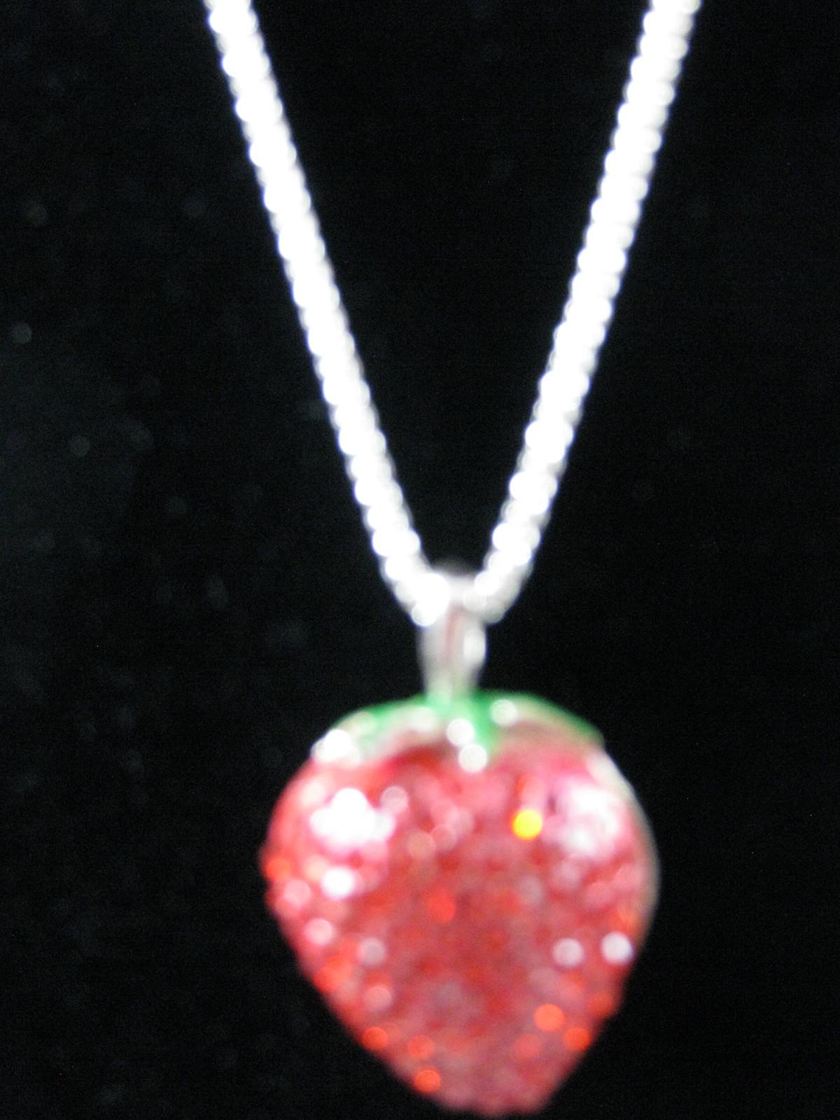 New Betsey Johnson Red Rhinestone Strawberry Pendant on long Chain