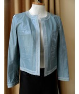 Chanel Jacket Leather Blue Open Front Mother of Pearl 03P - $742.50