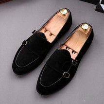 Handmade Men's Slip Ons Black Suede Double Monk Loafer Shoes image 4