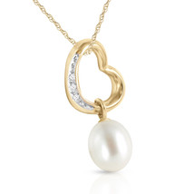 14K Solid Gold Women's Beautiful Heart Necklace w/ Natural Diamond & pearl - $357.27