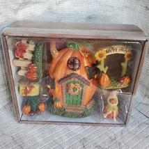 Fall Fairy Garden Set, Pumpkin Fairy House, Tiny Gnome Hut, Autumn Fairy Decor image 3