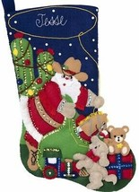 Bucilla Christmas Round Up Santa Cowboy Cactus Ranch Felt Stocking Kit 89075E - $38.95