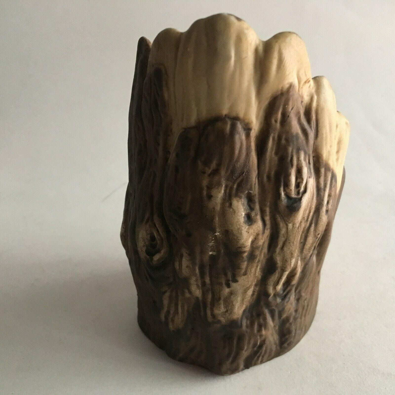 "Vintage Owl & Babies in Branch Ceramic Figurine Statue 5""X2.5"" Mid Century"