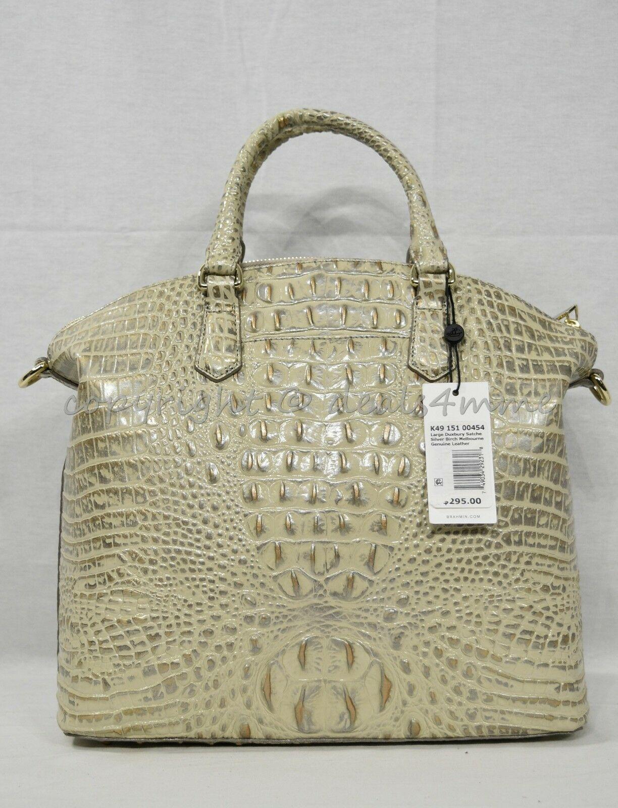 NWT Brahmin Large Leather Duxbury Satchel/Shoulder Bag in Silver Birch Melbourne image 3