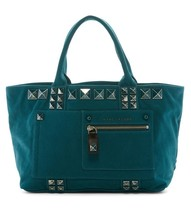 New with Tag - $395 Marc Jacobs Teal Canvas Chipped Studded Tote Bag - $128.69