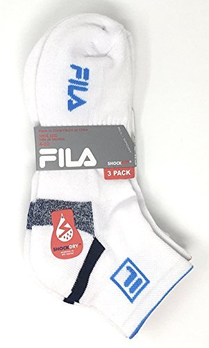Fila Women's 3-Pack Quarter Socks, Shoe Sizes 4-10 - White w Navy Stripe on Heel