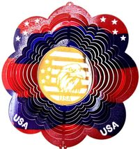 12 in stainless steel multicolor Eagle Head USA 3D hanging wind spinner spinners - $32.00