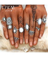 17KM® 11 pcs/set Vintage Opal Knuckle Flower Ring Set Women Antique Silv... - $5.65