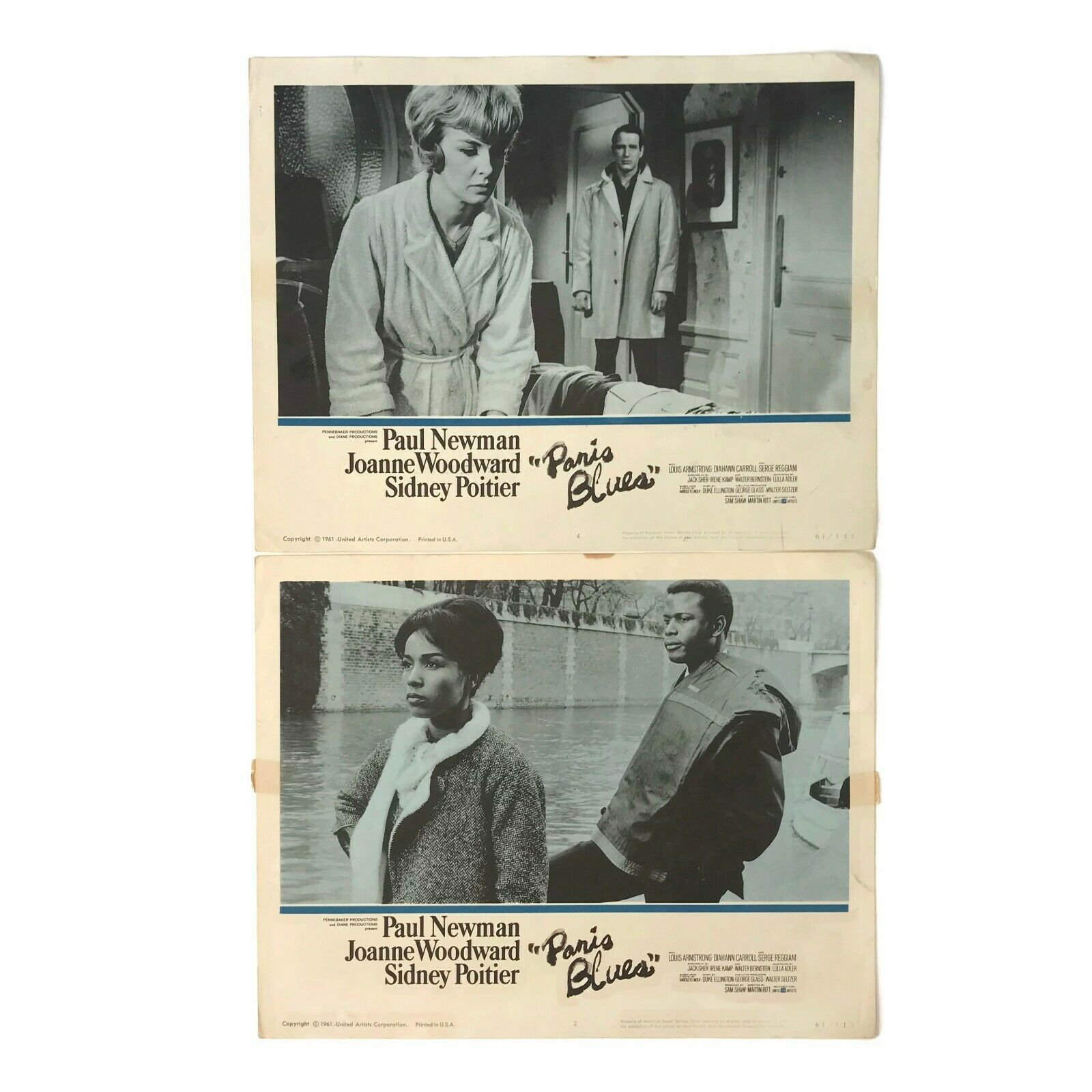 Primary image for 1961 Paris Blues Movie Lobby Cards  #2 and #4 Newman Poitier Woodward