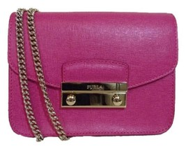 NWT FURLA Gloss Fuchsia Pink Saffiano Mini Julia Chain Cross body Bag $318  - $242.17